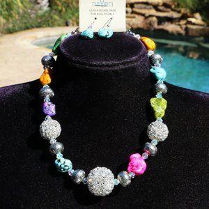 Boho Necklace Turquoise Multi Bead Rhinestone Set